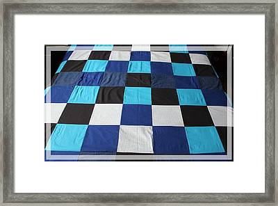 Quilt Blue Blocks Framed Print