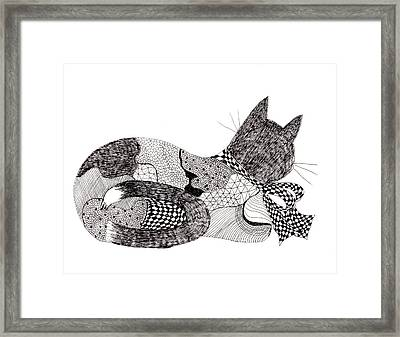 Quilt Cat With Bow Framed Print by Lou Belcher