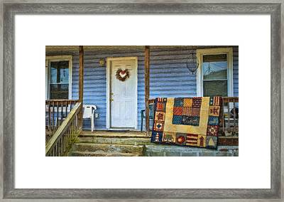 Quilt On The Front Porch Framed Print by Kathy Jennings