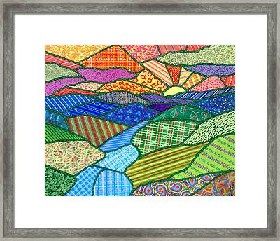 Quilted Appalachian Sunset Framed Print