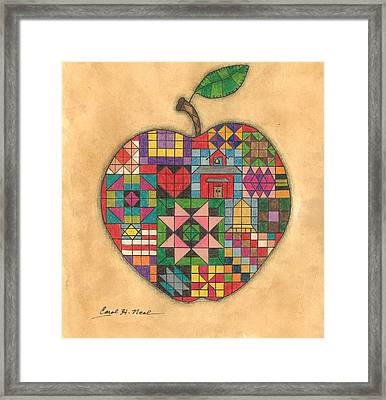 Quilted Apple Framed Print by Carol Neal