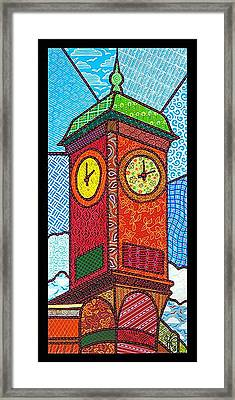 Quilted Clock Tower Framed Print by Jim Harris
