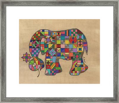 Quilted Elephant Framed Print