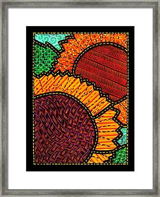 Quilted Sunflower Duo Framed Print by Jim Harris