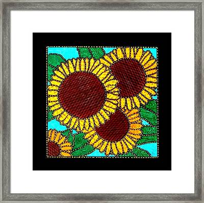 Quilted Sunflowers Framed Print by Jim Harris