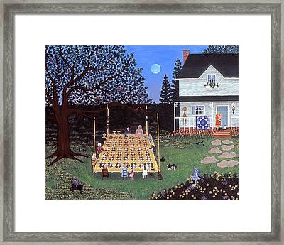 Quilting In The Country Framed Print by Linda Mears