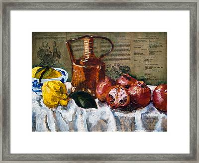 Quinces And Pomegranates Framed Print