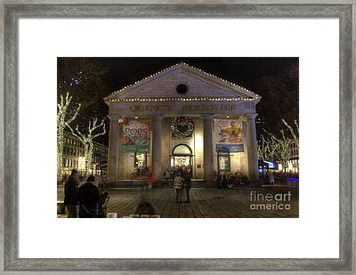 Quincy Market At Night Framed Print by Juli Scalzi