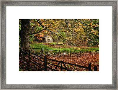 Quintessential Rustic Shack- A New England Autumn Scenic Framed Print by Thomas Schoeller