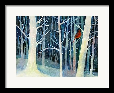 Red Cardinal In Snow Framed Prints