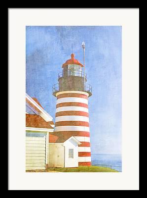 East Quoddy Lighthouse Digital Art Framed Prints