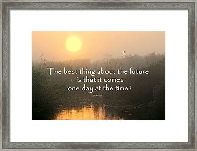 Quote On Sunrise-2 Framed Print by Rudy Umans