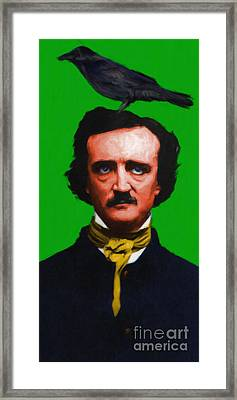 Quoth The Raven Nevermore - Edgar Allan Poe - Painterly - Green Framed Print by Wingsdomain Art and Photography