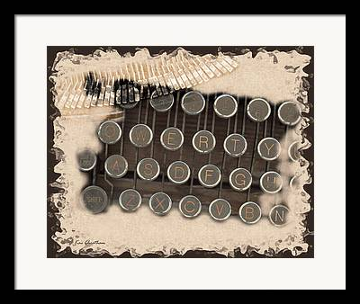 Typewriter Keys Digital Art Framed Prints