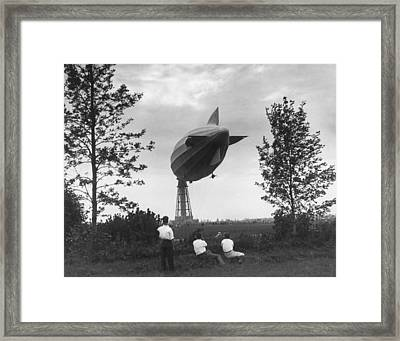 R-100 Dirigible In Montreal Framed Print by Underwood Archives