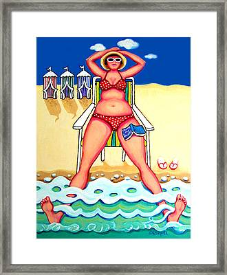 R And D - Woman On Beach Framed Print by Rebecca Korpita