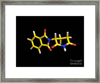 R-thalidomide Drug Molecule, Computer Framed Print by Dr. Tim Evans