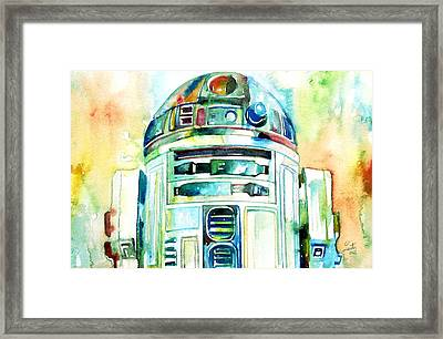 R2-d2 Watercolor Portrait Framed Print by Fabrizio Cassetta