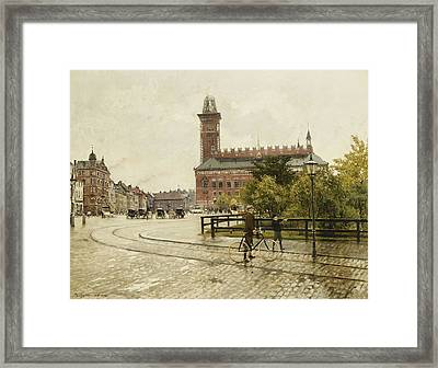 Raadhuspladsen, Copenhagen, 1893 Oil On Canvas Framed Print by Paul Fischer
