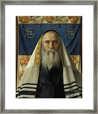 Rabbi With Prayer Shawl Framed Print by Celestial Images