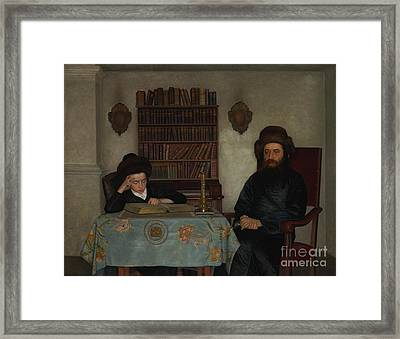 Rabbi With Young Student Framed Print by Celestial Images