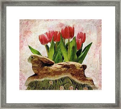 Rabbit And Pink Tulips Framed Print