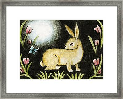 Rabbit And The Butterfly . . . From The Tapestry Series Framed Print
