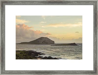 Framed Print featuring the photograph Rabbit And Turtle Island At Sunrise 1 by Leigh Anne Meeks