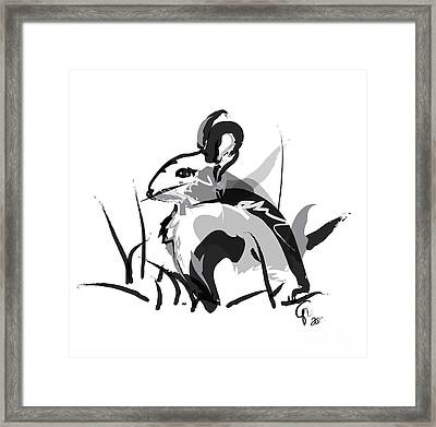 Rabbit Bunny Black White Grey Framed Print