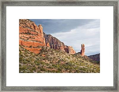 Framed Print featuring the photograph Rabbit Ears Spire At Sunset by Jeff Goulden