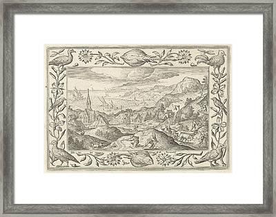 Rabbit Hunting, Adriaen Collaert, Eduwart Van Hoeswinckel Framed Print