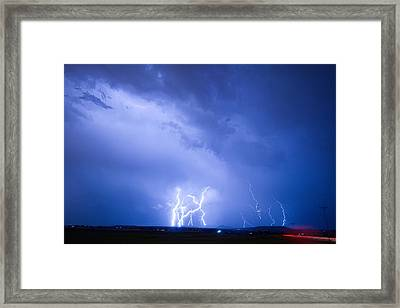 Rabbit Mountain Lightning Strikes Boulder County Co Framed Print