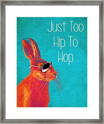 Rabbit Too Hip To Hop Blue Framed Print by Kelly McLaughlan