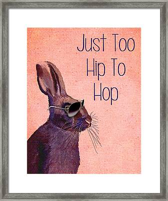 Rabbit Too Hip To Hop Pink Framed Print by Kelly McLaughlan