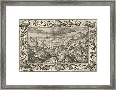 Rabbits Hunting, Adriaen Collaert, Eduwart Van Hoeswinckel Framed Print by Adriaen Collaert And Eduwart Van Hoeswinckel