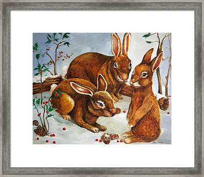 Rabbits In Snow Framed Print by Enzie Shahmiri