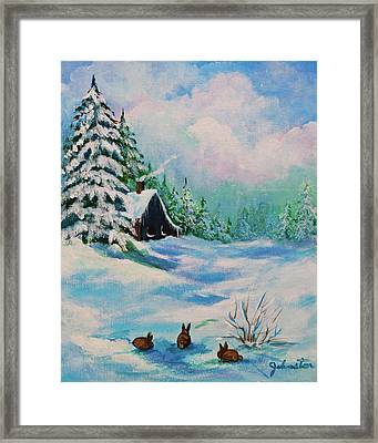 Framed Print featuring the painting Rabbits Waiting For Spring by Bob and Nadine Johnston