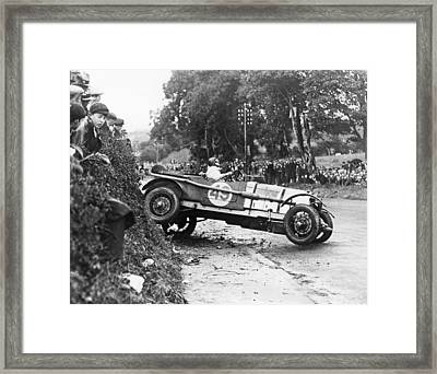 Race Car Driver Skids Framed Print by Underwood Archives