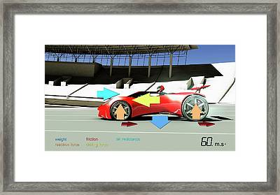 Race Car Physics Framed Print by Animate4.com/science Photo Libary