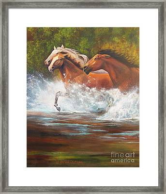 Framed Print featuring the painting Race For Freedom Close Up by Karen Kennedy Chatham