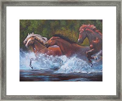 Framed Print featuring the painting Race For Freedom by Karen Kennedy Chatham