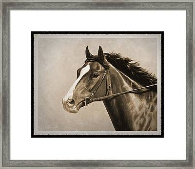 Race Horse Old Photo Fx Framed Print by Crista Forest