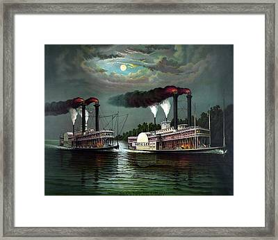 Race Of The Steamers Robert E Lee And Natchez Framed Print