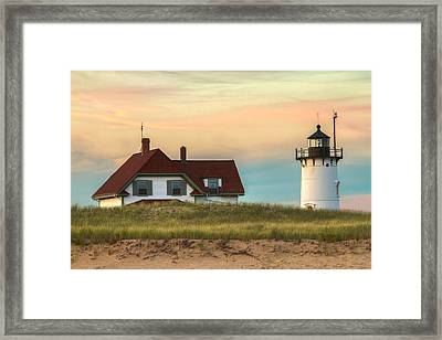 Race Point Light At Sunset Framed Print by Brian Caldwell