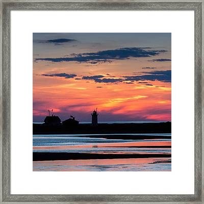 Race Point Light Sunset Square Framed Print