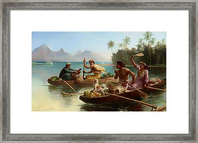 Race To Market Tahiti Framed Print by Mountain Dreams