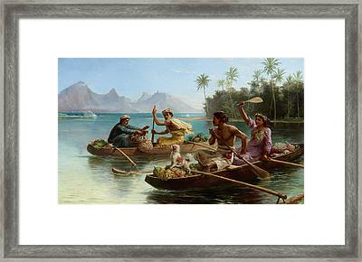 Race To The Market Tahiti Framed Print by Nicholas Chevalier