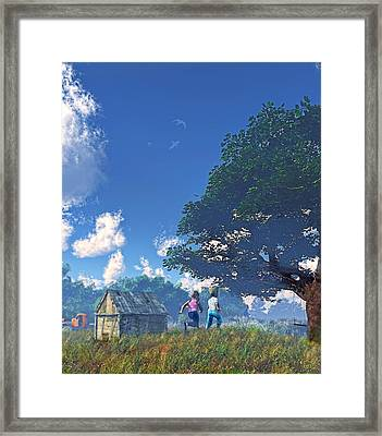 Race To The Swing Framed Print