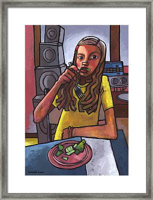 Rachel Eating Salad By Tom's Speakers Framed Print by Douglas Simonson