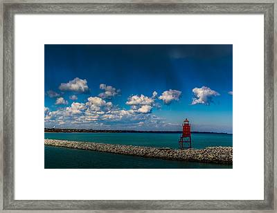 Racine Harbor Lighthouse Framed Print by Randy Scherkenbach